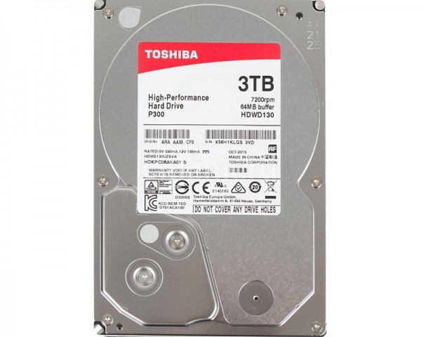 TOSHIBA 3TB 3.5'' SATA III 64MB 7.200rpm HDWD130UZSVA P300 series bulk