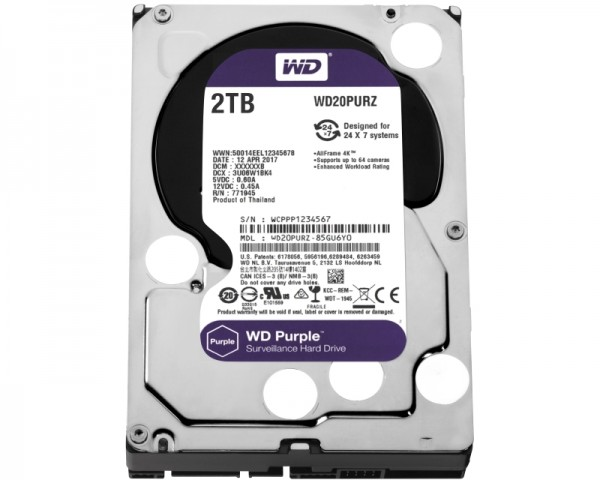 WD 2TB 3.5'' SATA III 64MB IntelliPower WD20PURZ Purple