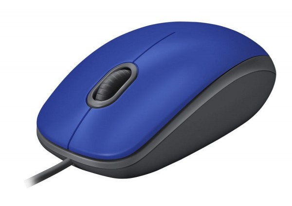 Logitech M110 Silent Optical Corded Mouse, Top Blue, New