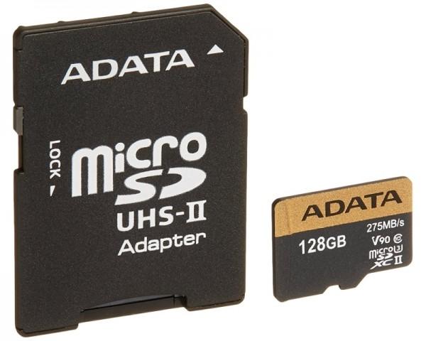 A-DATA UHS-II U3 MicroSDXC 128GB class 10 + adapter AUSDX128GUII3CL10-CA1