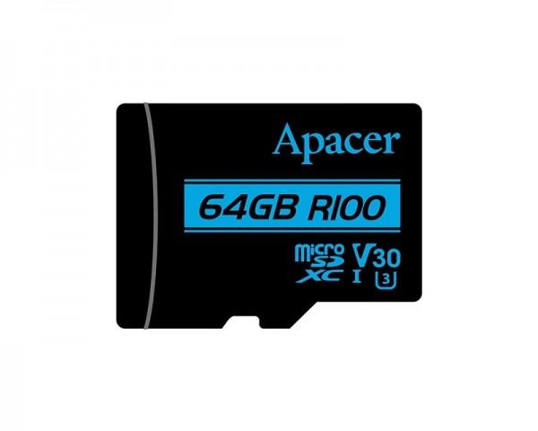 APACER UHS-I MicroSDHC 64GB V30 + Adapter AP64GMCSX10U7-R