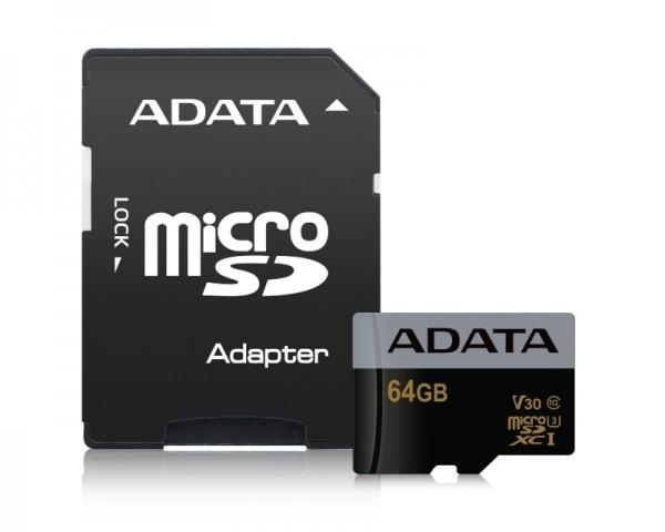 A-DATA UHS-I MicroSDHC 32GB class 10 + adapter AUSDH32GUI3V30G-RA1