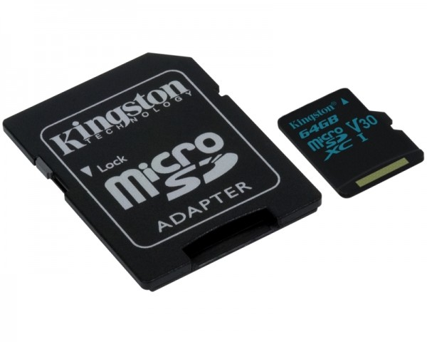 KINGSTON UHS-I U3 MicroSDXC 64GB V30+ Adapter SDCG264GB Go