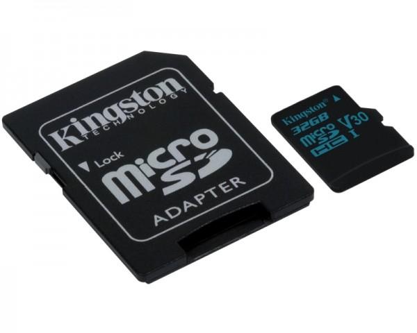 KINGSTON UHS-I U3 MicroSDHC 32GB V30+ Adapter SDCG232GB Go