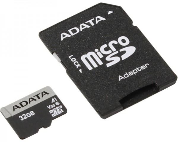 A-DATA UHS-I U3 MicroSDHC 32GB V30S class 10 + adapter AUSDH32GUI3V30SA1-RA1