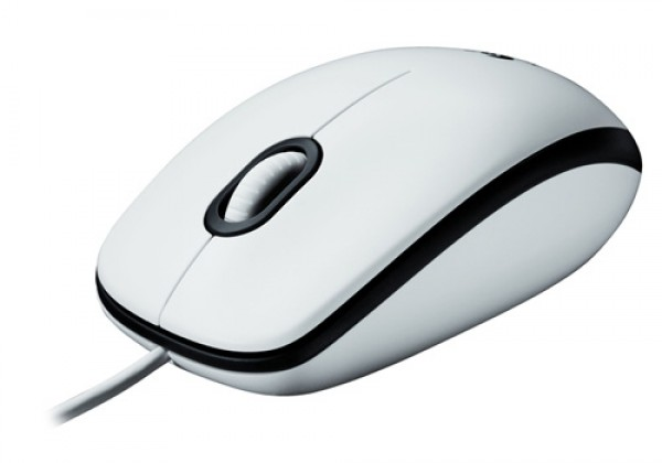 Logitech M100 Optical Corded Mouse, White