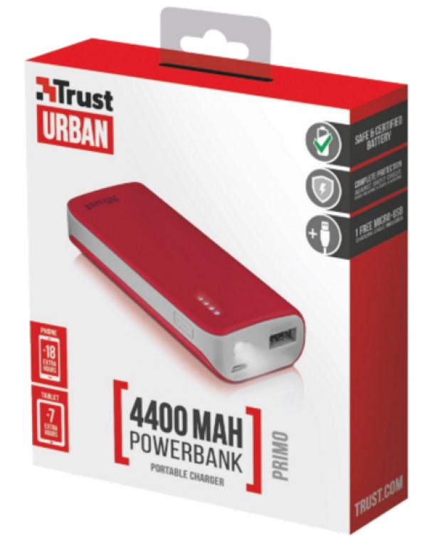 Trust Primo PowerBank 4400 prenosivi punjac crveni