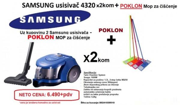 SAMSUNG Usisivač VCC4320S31BOL, 2kom + poklon MOP za čišćenje