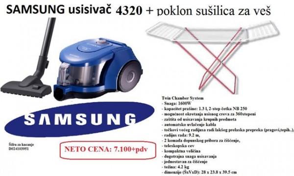 SAMSUNG Usisivač VCC4320S31BOL 1600W + poklon sušilica za veš