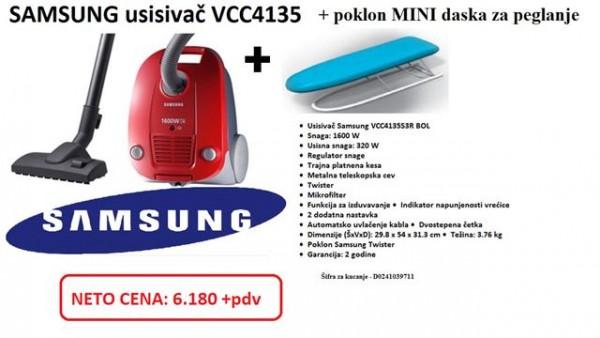 SAMSUNG Usisivač VCC4135S3RBOL 1600W + poklon daska za peglanje