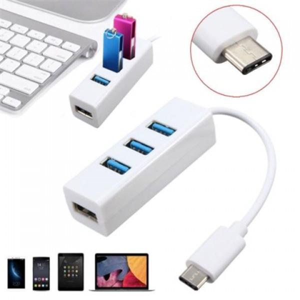 LINKOM USB 3.1 tip-C na 4xHUB USB 3.0 beli