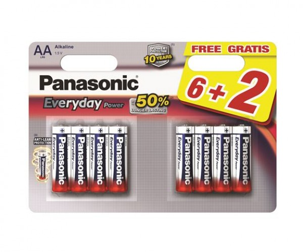 PANASONIC baterije LR6EPS8BW -AA 8kom Alkaline Everyday Power