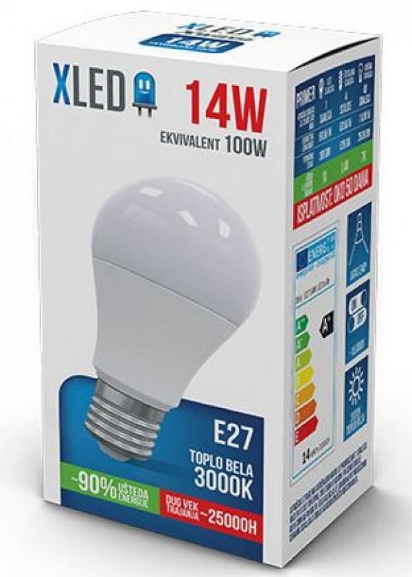 Xled LED Sijalica,E27 14W, Toplo bela, 3000K