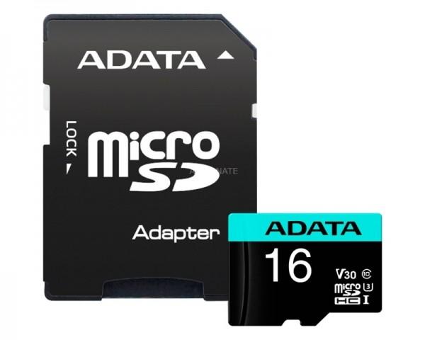 A-DATA UHS-I U3 MicroSDHC 16GB V30S class 10 + adapter AUSDH16GUI3V30SA2-RA1