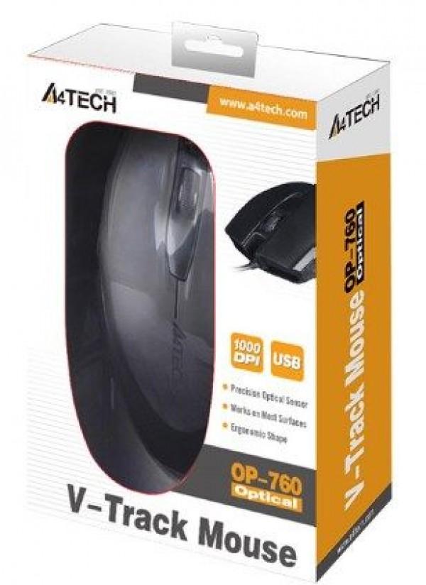 A4-TECH A4-OP-760-UB Opticki mis 1000Dpi Black USB