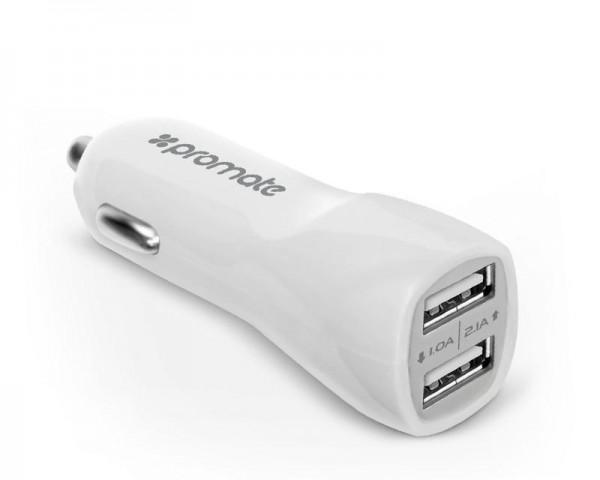 PROMATE Vivid ultra brzi punjač za kola dual USB beli