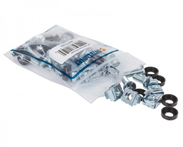 INTELLINET Cage Nut Set 20x M6 cage nut 20x M6 screws 20x Plastic Washers