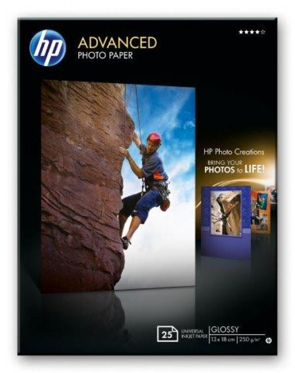HP Advanced Glossy Photo Paper 250 gm2-13 x 18 cm borderless25 str. Q8696A