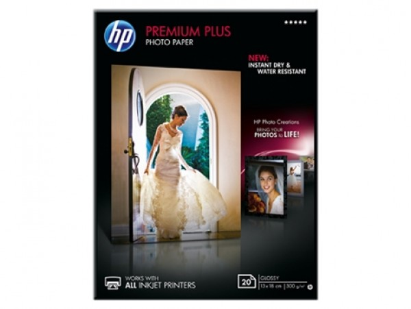 HP Premium Plus Glossy Photo Paper-20 sht13 x 18 cm