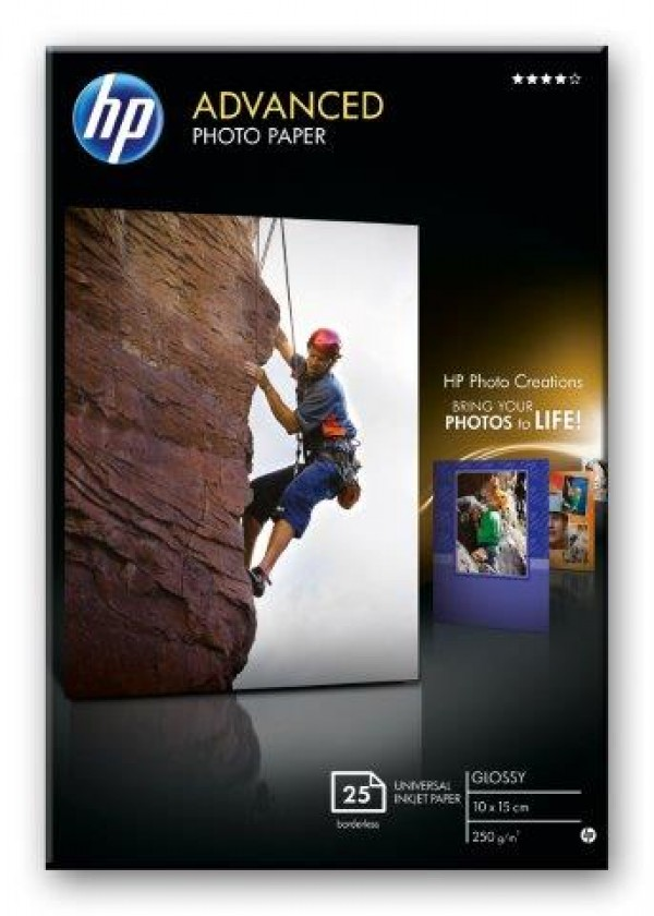 HP Advanced Glossy Photo Paper,250 gm2,25 sht10 x 15 cm borderless [Q8691A]