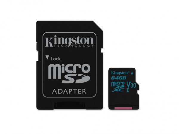 Kingston microSDXC 64GB Class 10 U3 UHS-I 90MBs-45MBs SDCG264GB + adapter