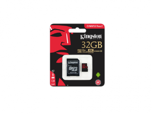 Kingston microSD 32GB Class 10 UHS-I U3 100MBs, 70MBs, 4K HD video, SDCR32GB + SD adapter