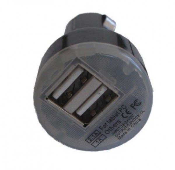 GEMBIRD C04 BLACK  AUTO punjac za telefone i tablete 5v 2.1A+1A dual USB with light + micro1M(189)