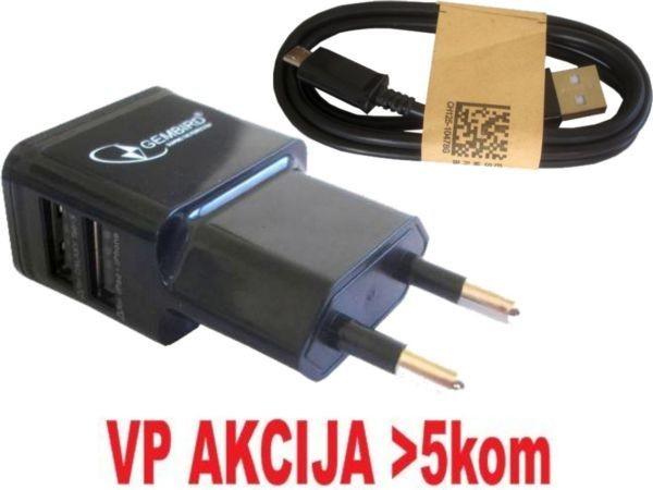 GEMBIRD NPA-AC21  punjac za telefone i tablete 5v 2.1A+1A 2xUSB black +micro USB DATA kabl 1M(319)