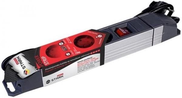 STARK Switch Produžni kabl ALU 1.8m, 3 utičnice, prekidač