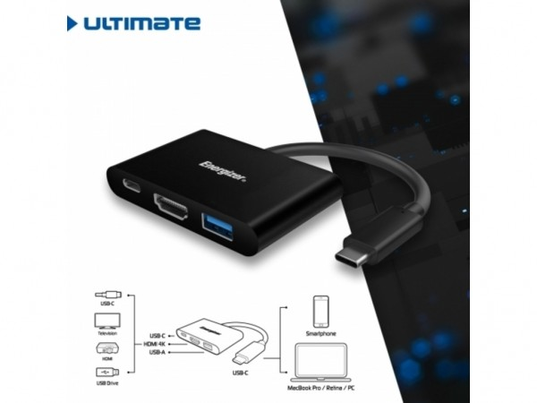 Energizer Ultimate Hub USB-C to USB+USB-C+HDMI Black