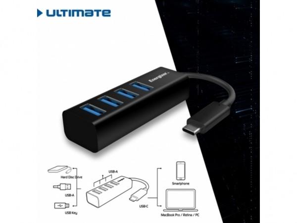 Energizer Ultimate Hub USB-C to 4 USB Black