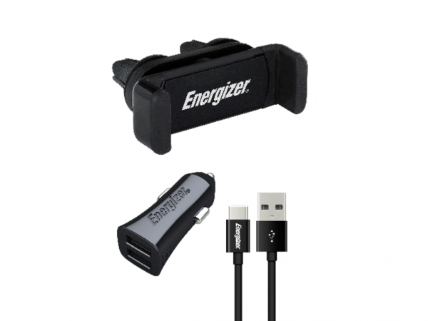 Energizer Max Universal Car Kit 2USB+USB-C Cable Black 3,4A