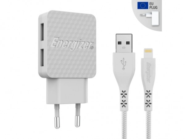 Energizer Hardcase Wall Charger 2USB+Lightning Cable White  3,4A