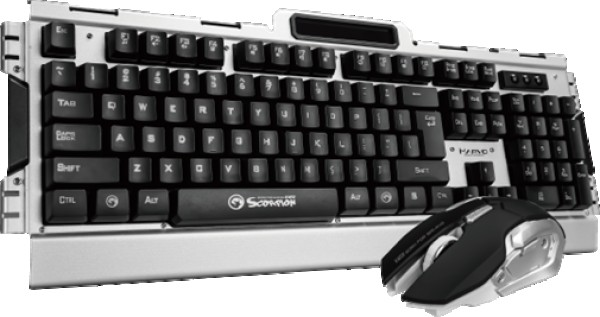 Marvo Set Tastatura+Miš Wireless KW511 gejmerski set  bez osvetljenja metalna tastatura crno/srebrni