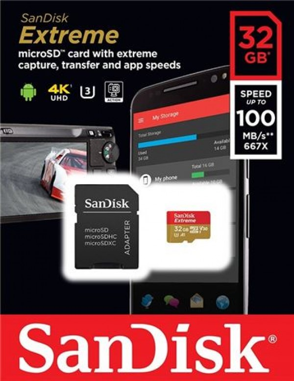 MICRO SD 32GB SanDisk Extreme + adapter SDSQXAF-032G-GN6MA