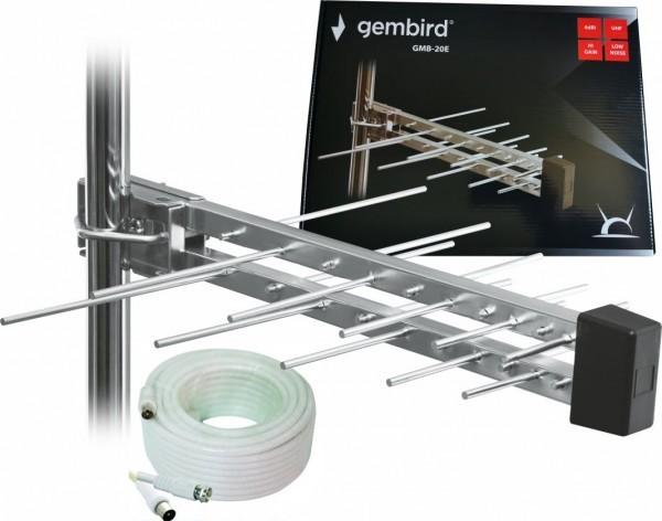 GMB-20E sa kutijom +15m ** Gembird Antena Loga UHF sa RF-Konektorom,20el, 39cm,6dB alu +kabl 15m 551