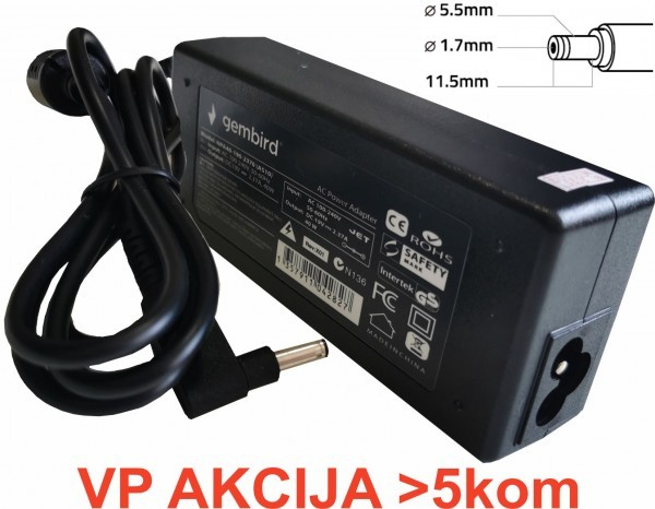 NPA65-190-3420 (AC07) ** Gembird punjac za laptop 65W-19V-3.42A, 5.5x1.7mm yellow (655 Alt=AC09)