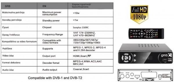 GMB-T2-404 **DVB-T2 SET TOP BOX USB/HDMI/Scart/RF-out, PVR, Full HD, H264, hdmi-kabl, modulator 1320