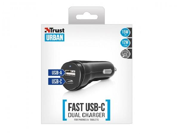 Trust brzi auto punjac USB-C&USB za telefone i tablete