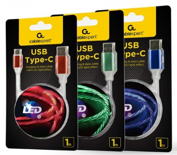 CC-USB-CMLED-1M Gembird Type-C charging and data cable, LED light effect,2 A (10W), 1m MIX