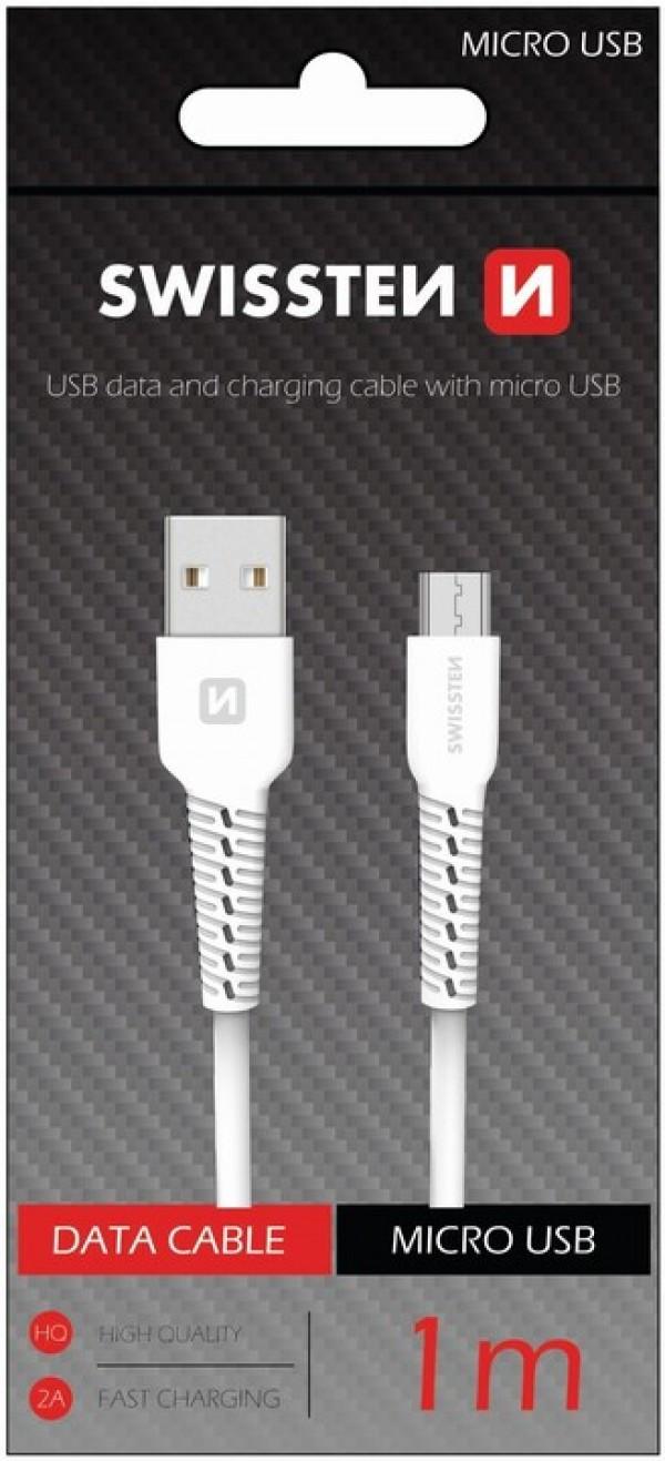 Swissten USB Data Cable 1m Micro (Bela)