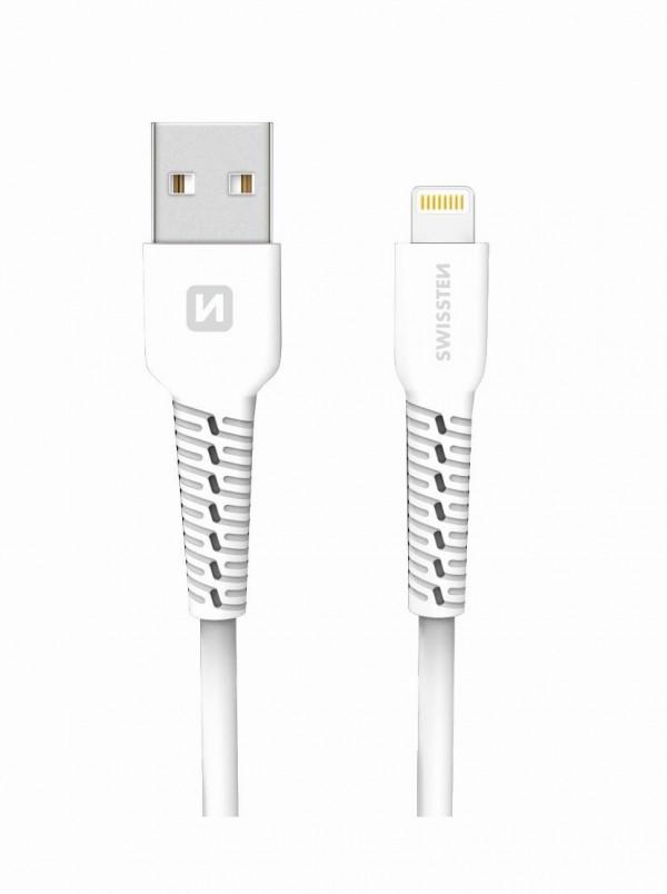 Swissten USB Data Cable 1m Lightning (Bela)