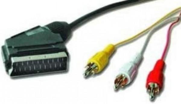 GEMBIRD CCV-519 SCART plug to 3*RCA plugs video/audio kabl 1.8m
