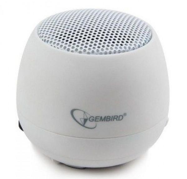 GEMBIRD SPK-103-W  Portable USB zvucnik 2W sa ugradjenom punjivom baterijom, lithium, WHITE (fo)