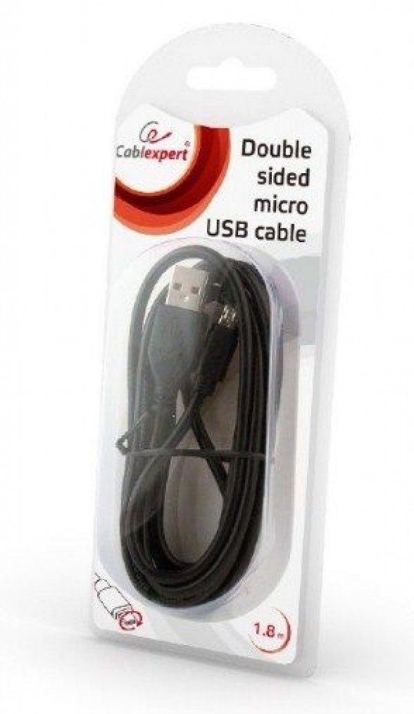 GEMBIRD CCB-USB2-AMmDM-6  USB 2.0 AM to Double-sided Micro-USB cable, black, 1,8m Blister