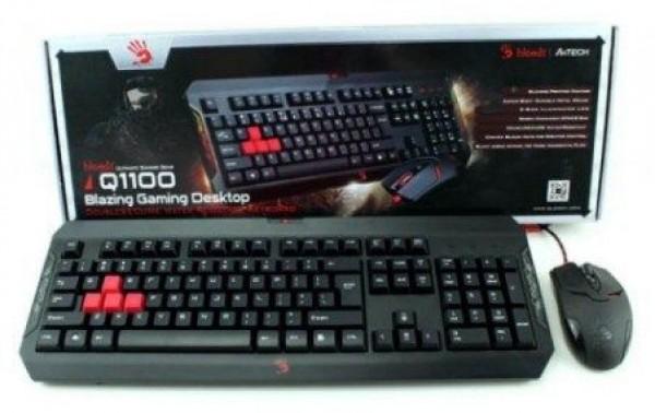 A4-TECH A4-Q1100 Bloody Gejmerska svetleca tastatura + mis, Black USB, US Layout (2308)
