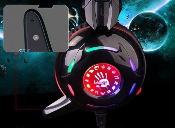 A4-TECH A4-G300 Bloody Gejmerske slusalice sa mikrofonom, 40mm/32ohm, LED, 2x3,5mm + USB za PC