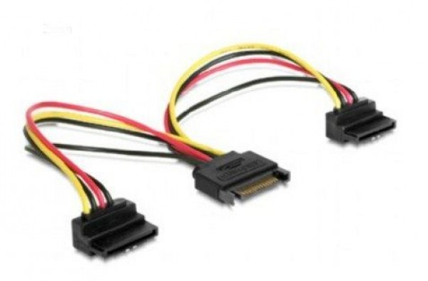 GEMBIRD CC-SATAM2F-02  SATA power splitter cable with angled(90) output connectors, 0.15 m
