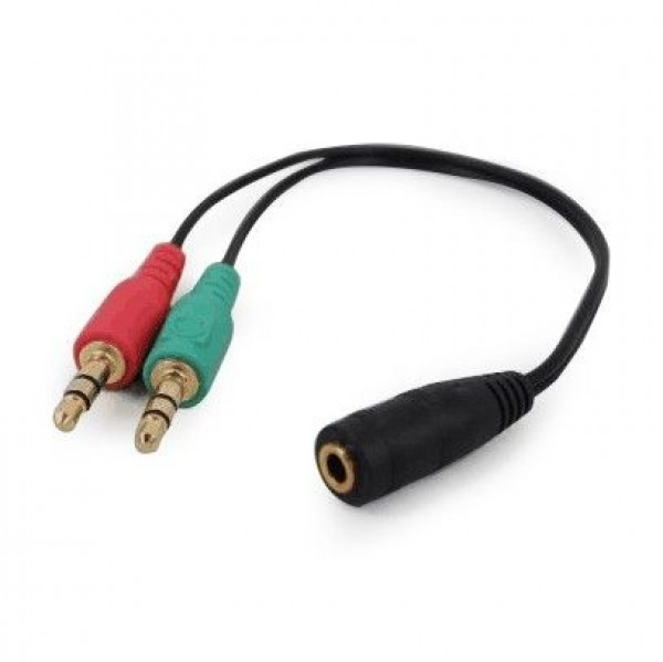 GEMBIRD CCA-418  3.5mm Headphone Mic Audio Y Splitter Cable Female to 2x3.5mm Male adapter