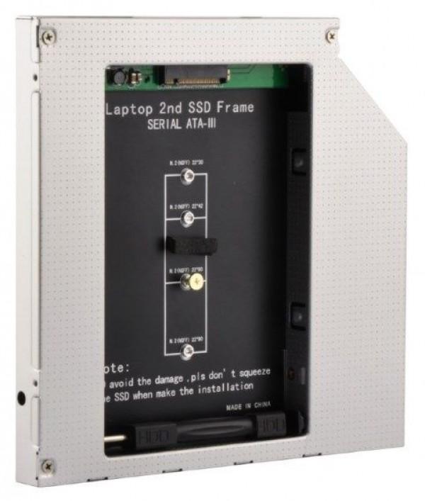 GEMBIRD A-SATA12M2-01  Fioka za montazu NGFF(M.2)SSD (do 12.7mm) u 5.25\'' leziste u Laptop umesto opti